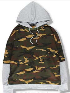 2020 spring  autumn Fake two piece camouflage hoodie men women fashion sweatshirts brand orignal design casual pullover