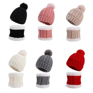 Baby Wool Cap Toddler Boys Knitted Hat Girls Wool Hats Pompom Beanie Cap Scarf Sets Winter Warm Accessories 6 Colors BT5982