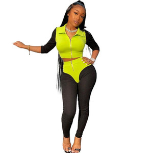 Knitted Ribbed Elastic Fitness Tracksuit 2 Piece Set Women Spring Half Sleeve Jacket Crop Top Slim Leggings Sexy Club Outfits