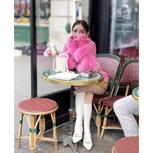 High quality autumn and winter fashion faux fox fur stitching rose red pullover sweater