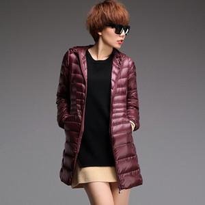 Brand Ladies Long Winter Warm Coat Women Ultra Light 85% White Duck Down Jacket Women's Hooded Parka Female Overcoat Size 7XL