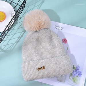 Berets Knitted Hats Winter Beanies Women Thick Warm Hair Ball Hat Female Beanie Caps Outdoor1