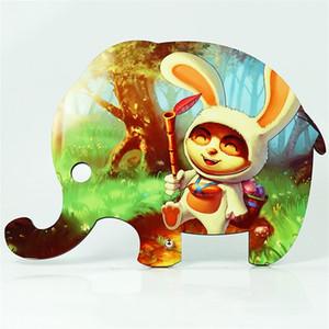 Sublimación Pinturas de madera de conejo en blanco Elefante Animal Lindo Madera Pintura Niño Regalo Niño Originalidad Adornos de Escritorio Nueva Llegada 11 4xmb P2