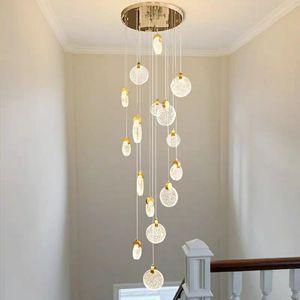 Staircase lamp long chandelier  crystal lamp loft duplex chandelier villa hotel modern staircase round LED decorative lamp