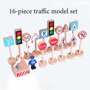 Segnale stradale del traffico di puzzle di legno Segnale stradale 16 Pezzo Modello in legno Mini Airplane Auto Bambini in legno giocattoli