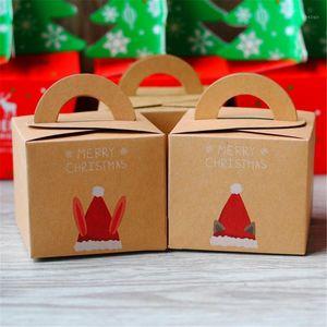 1 unid Feliz Navidad Embalaje Caja de caramelo Party Pastel Poster Papel Caja Festival Regalo Envolver Navidad Eve Apple1