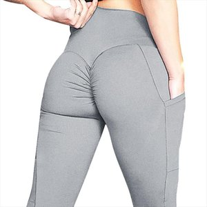 Solid Color Fitness Leggings For Women Fashion Skinny Push Up Sweatpants Stretchy Slim Leggins with pocket Butt Lifter Hip Pants
