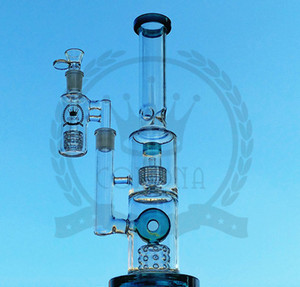 Heady Glass Bong Water Pipes with 16 Inch 3 Honeycombs Filter Oil Rigs 18mm Male Glass Beaker Bongs
