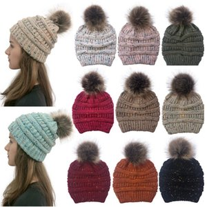 New Knitted Ponytail Hat 10 Colors Winter Women Pompom Beanie Girls Warm Knitted Thick Outdoor Skulllies Hats DDA689