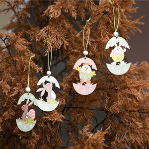 Easter Rabbit Cartoon eggshell chick Pendants Wooden Craft Ornament Wood Hanging Pendants Cute Bunny Easter Decoration Party Cheap G12006