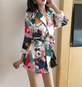 2021 New Women's Fashionable Floral Blazers Printed Fancy Long Double Robes Lady's Lane Korean Office Luxury Blazer QTXX
