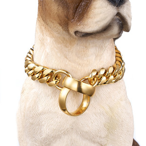 Luxury 14mm New Stainless Steel Training P Chain Dog Leash 18K Gold Polished Cuban Link Chain Pet Dog Collar Necklace Fashion Design