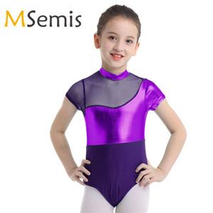 Ragazze dei capretti ginnastica Swimsuit Swimwear Body Body Ballet Body Danza tuta vestito di nuoto del costume da bagno di metallo per bambini