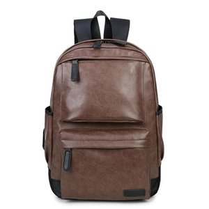 New Bagpack Men Women Backpack PU Leather Vintage Unisex Backpacks Travel Bolsas Teenage Girls Boys College Students School Bag
