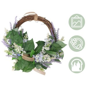 1PC Simulated Lavender Garland Household Door Hanging Wreath Decorative Lavender Wreath for Wall Door Wedding Home