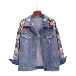 Sherhure 2020 Pearl Beading Cartoon Sequins Embroidery Women Jacket Coat Ripped Vintage Women Dnim Jacket Coat Tops For