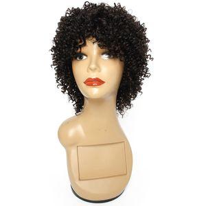 Maschinell hergestellte Menschenhaar-Perücke Keiner Spitze 8 Zoll kurzer lockige brasilianisches Haar-natürliche Farbe Preiswerte Menschenhaar-Perücken für schwarze Frauen