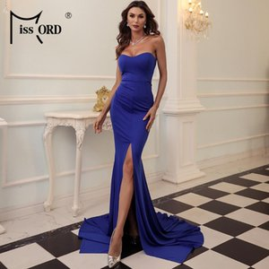 Missord 2020 Sexy Strapless Evening Party Dress Female Wrapped Chest Asymmetric Maxi Dress Backless Long Women Dresses FT1683-2