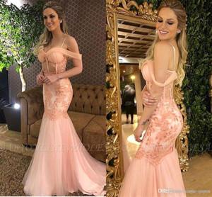 Blush Pink Elegant Lace Appliqued Mermaid Prom Dresses Spaghetti Straps Off Shoulder Formal Dress Evening Gown Party Dres ogstuff Custom