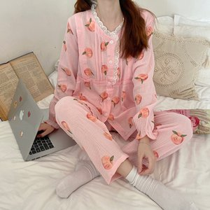2021 Primavera Early Chic Sweet Peach Pajamas Ocio Simple Dos Piece Home Traje