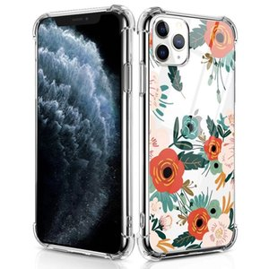 Aplicável iPhone12 Pro 11 Cantos de Max 6 7 8 Plus Balloon Drop transparente após a Samsung S10 Flores pintadas
