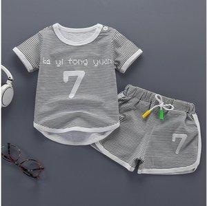 2019 new children's Korean fashion short T sleeve two piece set summer baby cotton short sleeve Shorts Set wholesale