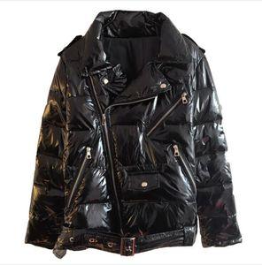 Cierre de patente de cuero brillante Parka Mujeres Chaqueta de cremallera negra Mujeres Windowbreaker Coat 2019 Invierno brillante Down Parka para Wome T200319