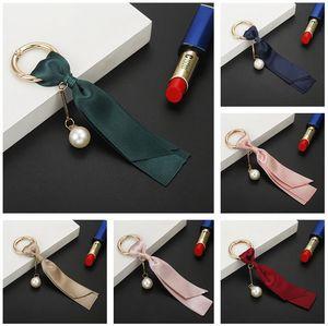 New Creative designer Keychain Fashion Bag Tassel Pendant Korean Ribbon DIY Jewelry Accessories Pearl Satin Keychain jewelry gift