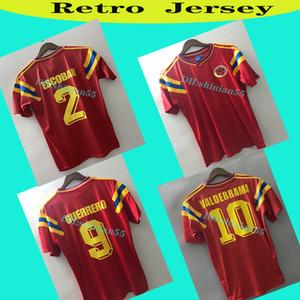 Kolombiya 1990 Retro Futbol Forması Valderrama Guerrero Escobar Uzakta Kırmızı Klasik Hatıra Antik Koleksiyon Vintage Camisa de Futebol