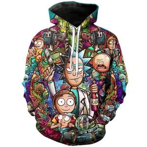 nova moda hoodies enormes anime rick e morty 3d homens de impressão mulheres manga comprida camisola do hoodie