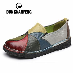DONGNANFENG Women's Ladies Female Woman Mother Shoes Flats Genuine Leather Loafers Mixed Colorful Non Slip On Plus Size 35-42 201026