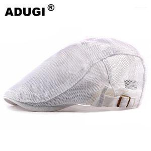 Adugi Hollow Mesh Beret Homens e Mulheres Verão Capas Casuais Coreano Moda Respirável Placa de Luz de Forma Forward Hat1