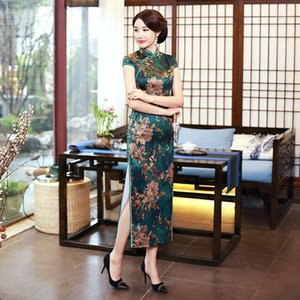 New Stylish Ladies Short Sleeve Chinese Traditional Dresses Handmade Button Qipao Mandarin Collar Sexy Cheongsam Plus Size M-3XL1