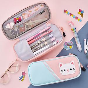 Angoo мультфильм Kitties Pen Case Карандаш сумка Manga Kawaii Cat ткани чехол для хранения большой емкости Канцелярские Школьница подарков H6886