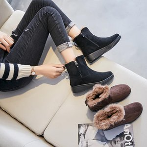 2020 Round Toe Warm Slope Heel Ankle Plush Snow Boots for Woman size 35-41 Winter Lace-Up Leisure Women's Ladies Mother Shoes