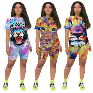 women tracksuit Summer and Autumn Europe and America Women's Tiger Lion Printed Sweatpants Set Two-Piece Set Nightclub
