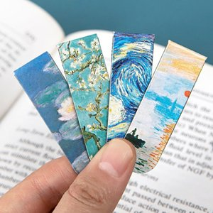 Creative Van Gogh Painting Magnetic Bookmark Oil Painting Style Book Clip Literary Retro Pagination Mark School Office Supplies