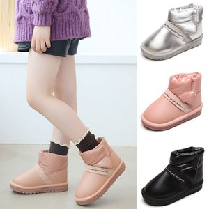 Waterproof Kids Ankle Boots Warm Winter Anti Slip Boots Letter Print Leather Fashion Child Shoes Infant Hook Loop Snow Boots Q30 201021