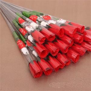 Simple roses rouges Simulation fleur transparente emballage mignon ours amour fleurs Saint Valentin Décorer des fournitures de haute qualité 0 48tn G2