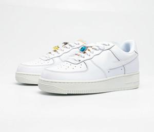 Femmes civiles AF 1 Haute Qualité One 1 Cork Sports Shoes LX Gemstone Mariage Shoes Sneakers est livré avec trois gros gemmes