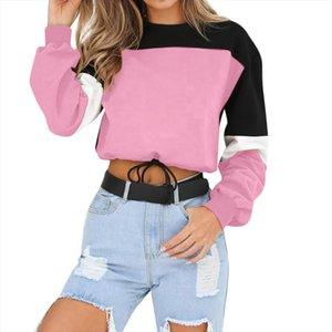Fashion Patchwork Color Pullover Women Autumn Female Winter Long Sleeve Casual Sweatshirt Sports Short Tops Harajuk Feminino Y3