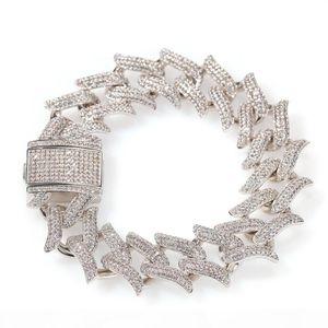 20mm Round Cuban Miami Chain Bracelet Men Hip Hop Cubic Zirconia Bling Iced Out Cuban Link Chain Bangle Bracelets Jewelry