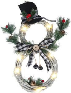 Christmas Wreath LED Front Door Wreaths, Snowman Artificial Wreaths with LED Fairy String Lights Bow Pine Cones Red Berries Plaid Bow-Knot f