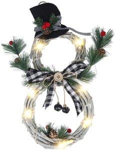 Рождественские венки LED на передней двери Венки, Снеговик Искусственные Венки с LED Fairy гирлянд Лук шишками Красные ягоды Plaid Bow-Knot е