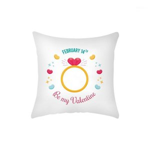 1pc Valentines Day Present Pillow Case Red Rose Flower Heart Shaped Polyester Pillowcase Valentines Day Pillow Cover Cojines1