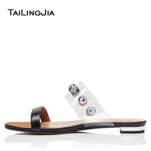 Factory Wholesale Flat Crystal Black Slippers Studded Transparent Flats Women Summer Nude Sandals Lady Studs Shoes Large Size