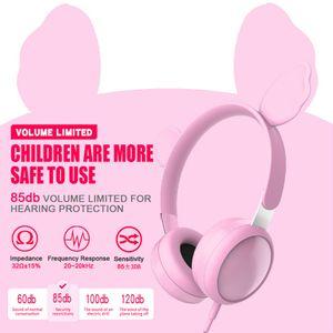 Pink Cat Ear Stereo Headphones for Student Study Music Class Cute Cartoon HiFi Wired Headbands Professional Kids Earphones Bear