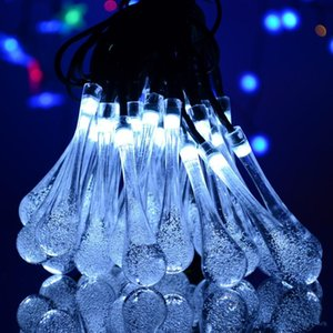 Crystal Ball Water Drop Solar Powered Globe Fairy 8 Working Effect for Outdoor Garden Christmas Decoration Holiday Lights GWB2062
