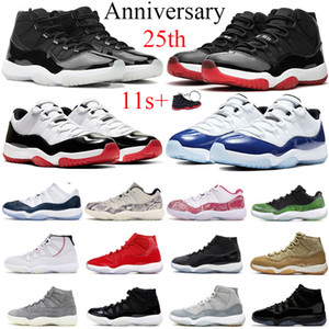Jumpman 11 11s 25th Anniversary Low white concord 45 bred Men Basketball Shoes Gym Red Gamma Blue XI Women Sports Sneakers Shoes 36-47