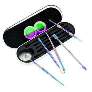 Rainbow silver Dab Tool Kit Set with 5ml silicon container 5pcs long dabber tool metal single package for wax dry herb